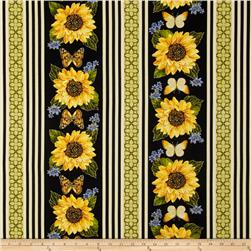 Kanvas Forever Sunflowers Metallic Stripe Black