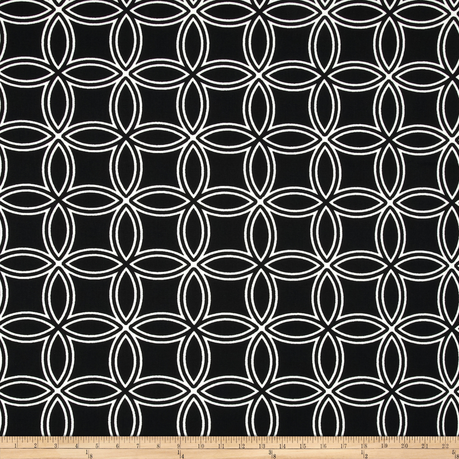 Image of Largo Acrylic Indoor/Outdoor Circles Black Fabric