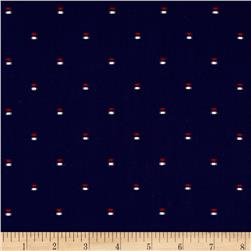 Kaufman Sailors Cotton Dobby Double Dash Navy