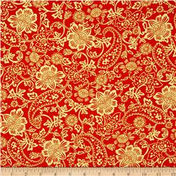 Kanvas Bohemian Rhapsody Metallic Tapestry Floral Burnt Orange