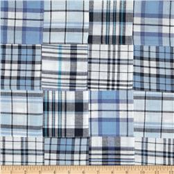 Madras Plaid Blue/Navy/White Fabric