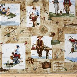 Norman Rockwell Vintage Fishing Scenes Tan
