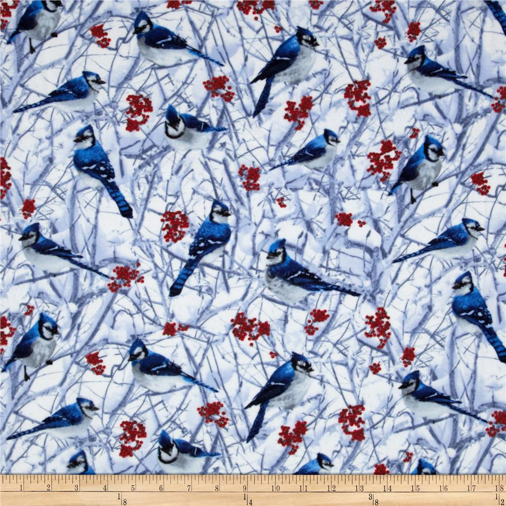 Timeless Treasures Flannel Blue Jays Snow