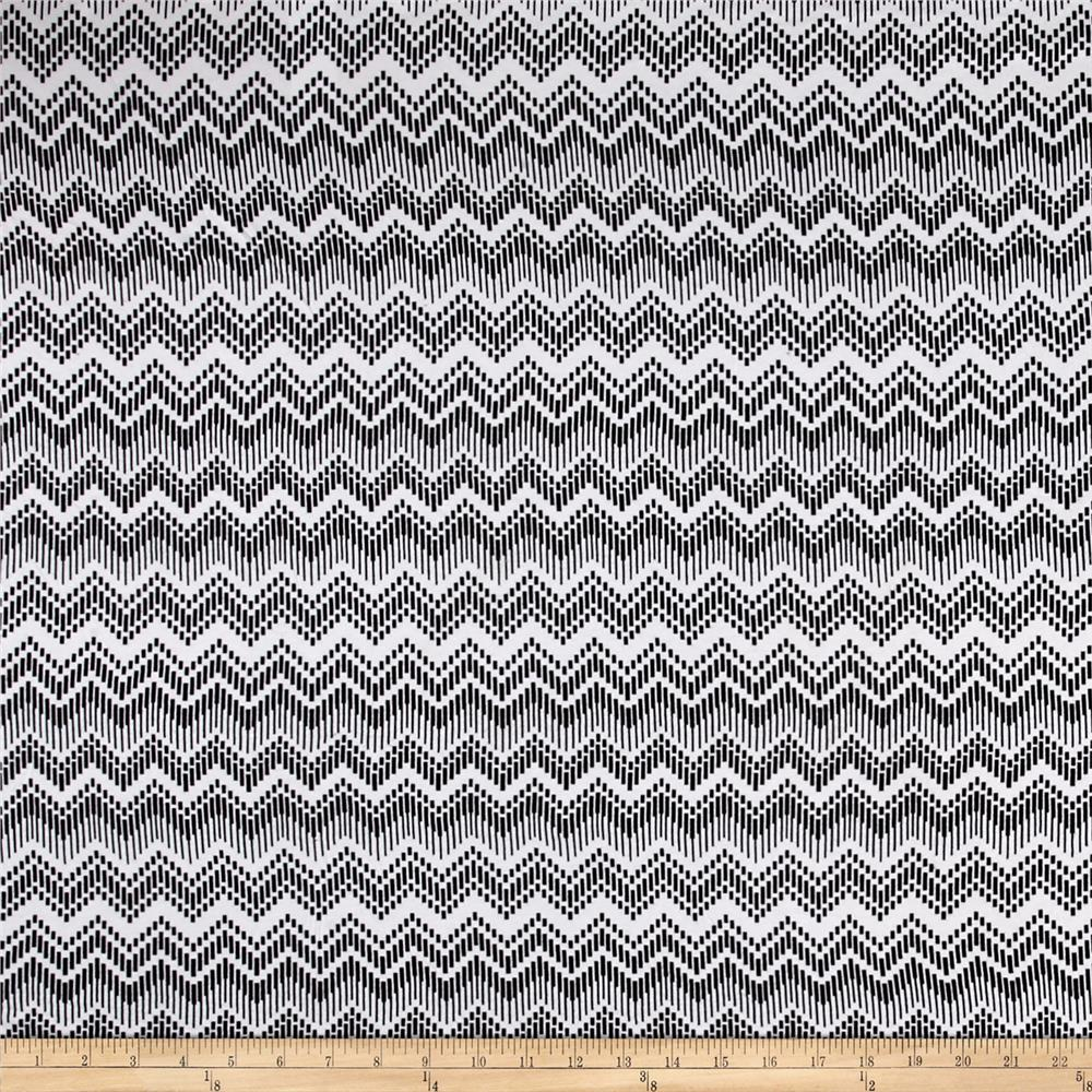 Abstract Chevron Jersey Knit Black White Fabric By The Yard
