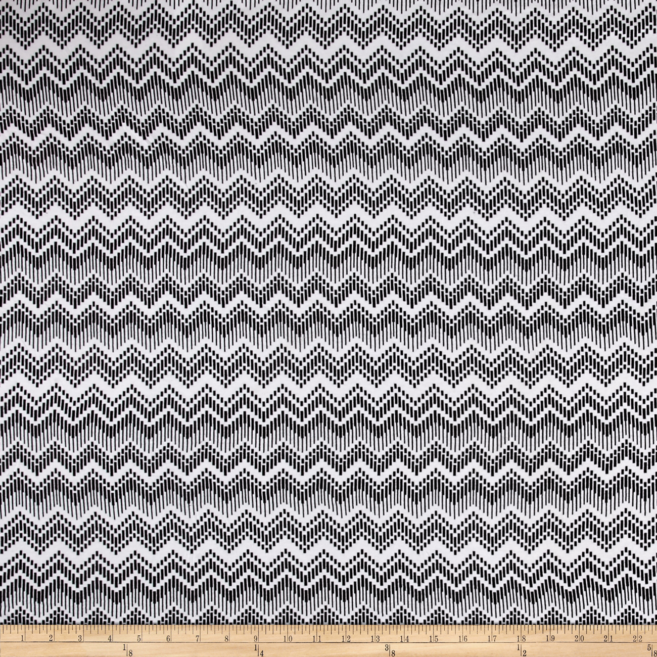 Abstract Chevron Jersey Knit Black White Fabric by E.Z Fabric in USA
