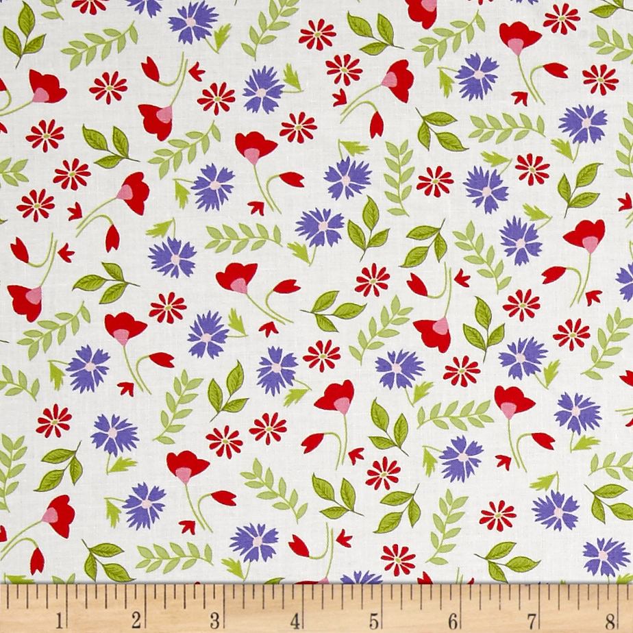 Penny Rose Meadow Sweets Floral White Fabric by Christensen in USA