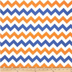 Riley Blake Wide Cut Chevron Medium Orange/Blue Fabric