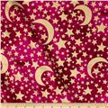 Michael Miller Moon & Stars Metallic Moon & Stars Raspberry