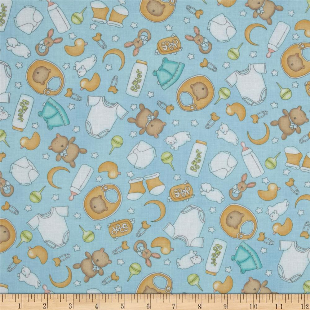 Sweet pea tossed allover nursery blue discount designer for Nursery fabric sale