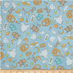 Sweet Pea Tossed Allover Nursery Blue Fabric