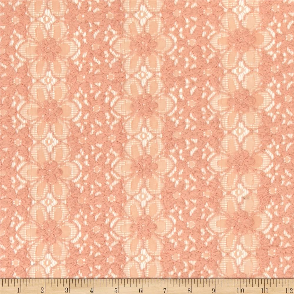 Lace Crochet Daisy Floral Peach Fabric