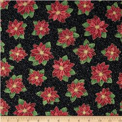 Christmas Star Tossed Poinsettia Black