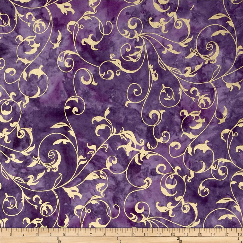 Indian Batiks Metallic Scroll Purple