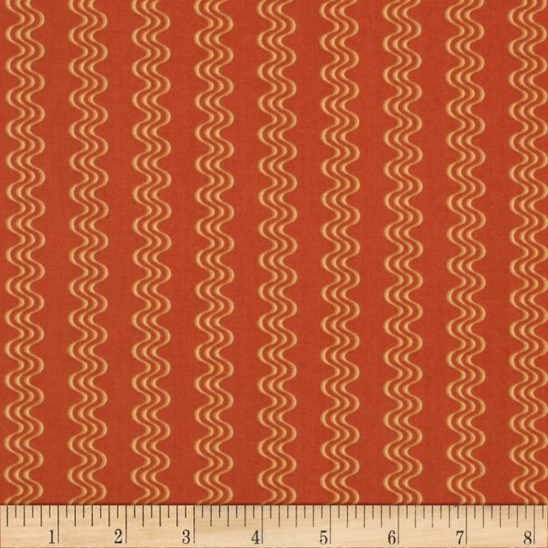 Retro Geo Polka Waves Orange Fabric