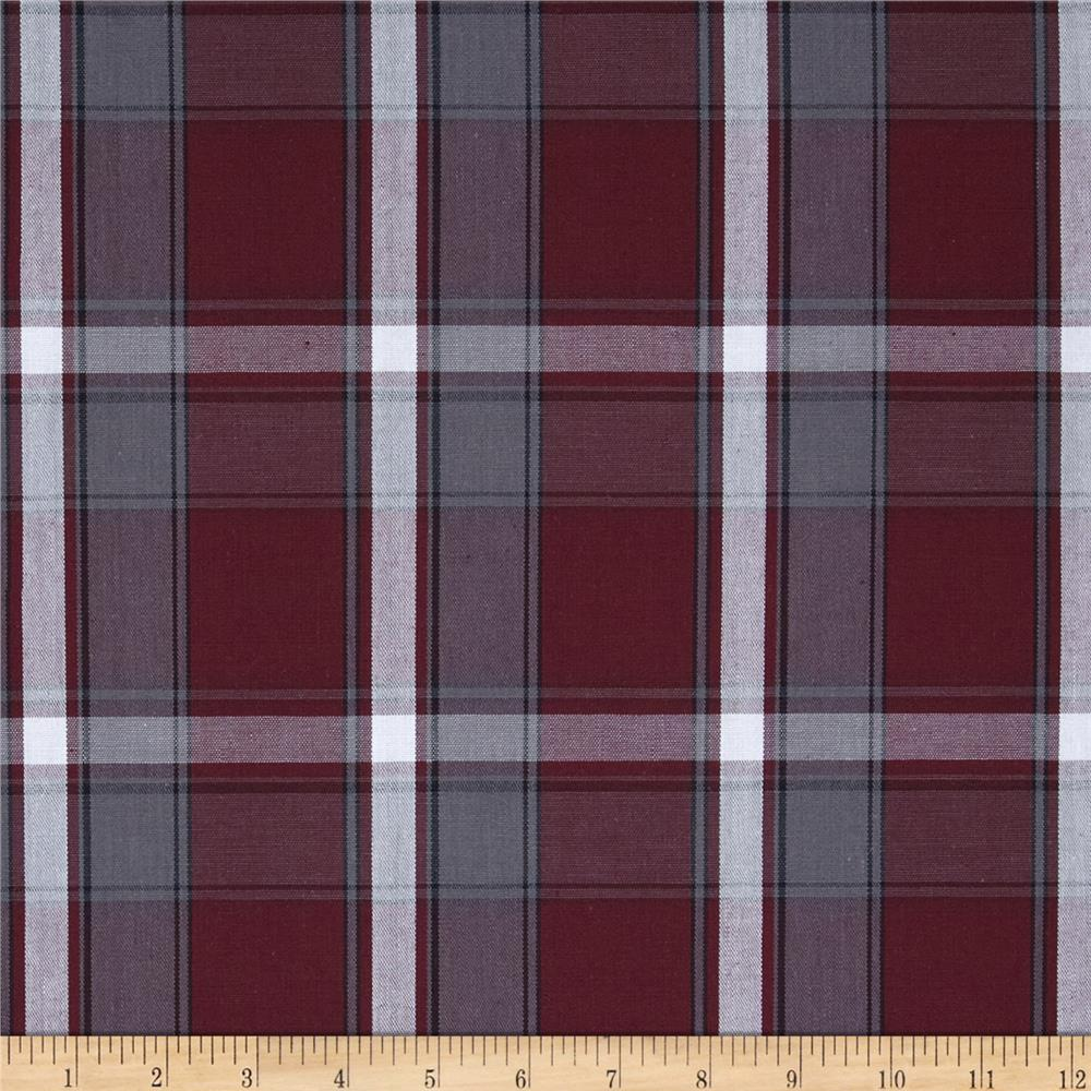 Poly/Cotton Uniform Plaid Maroon/Gray/White