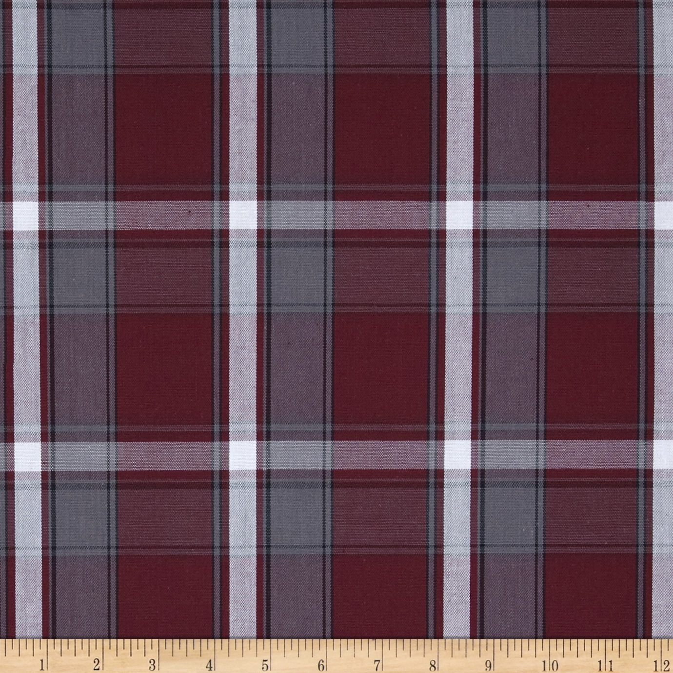 Poly/Cotton Uniform Plaid Maroon/Gray/White Fabric by Carr in USA
