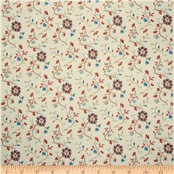 French General Embroidered Mina Floral Indigo Fabric