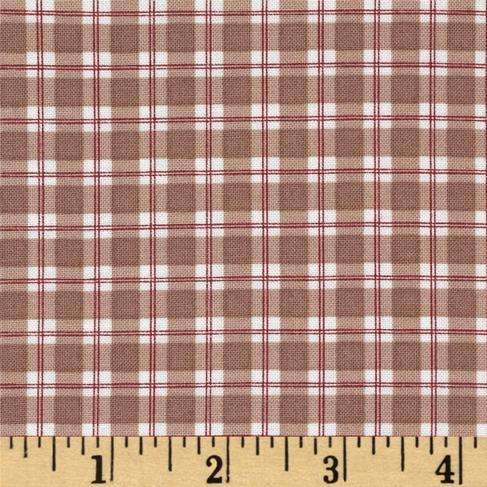 Moda Mistletoe Lane Plaid Wood Smoke