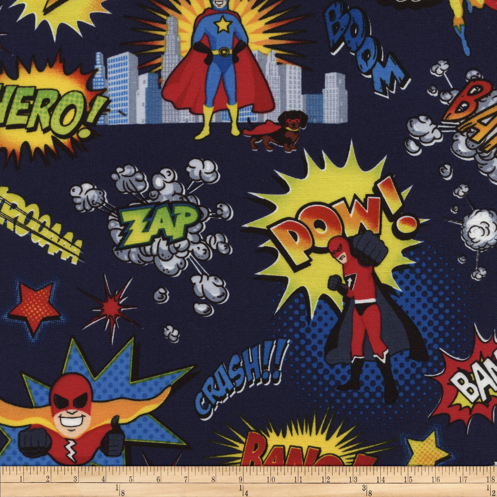 Timeless Treasures Super Heroes Navy Fabric