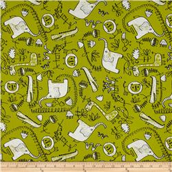 Safari Scribble Allover Animals Green