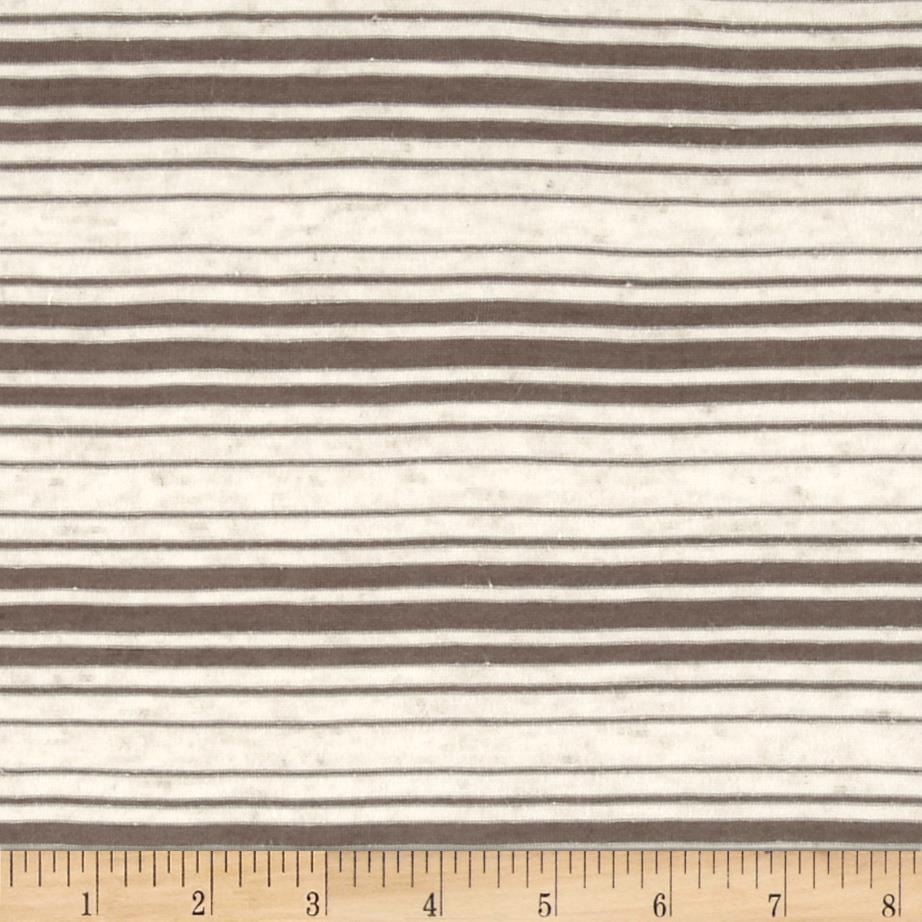 Sheer Yarn-Dyed Striped Jersey Knit Dark Taupe Fabric