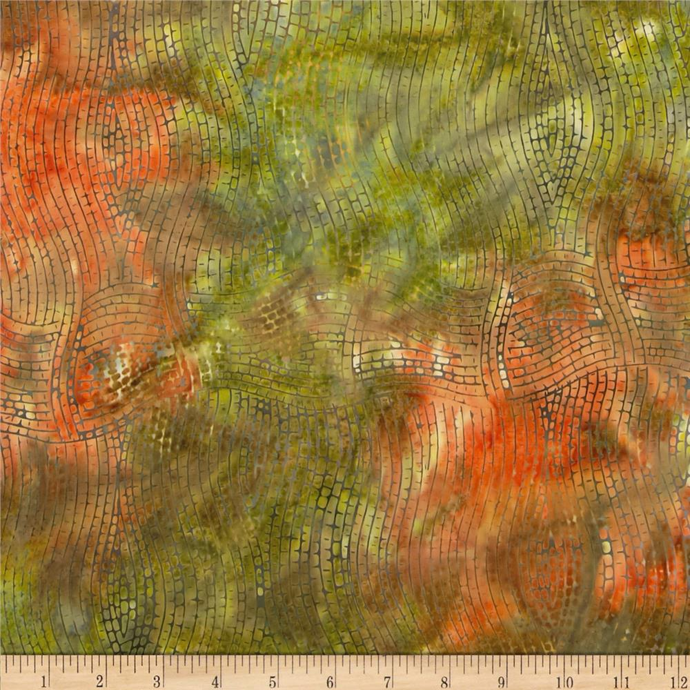 Indonesian Batiks Grid Orange/Green