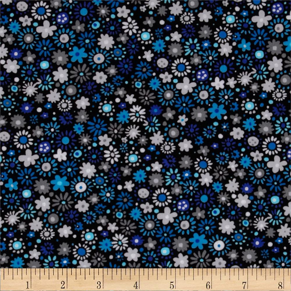 Sapphire Blue Floral on Black