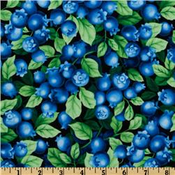 Timeless Treasures Farm Fresh Blueberries Black