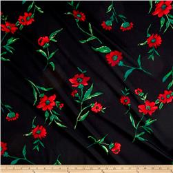 Crepe de Chine Floral Black/Lotus Red