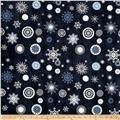Icy Winter Silver Metallic Snowflakes Navy