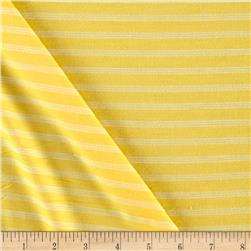 Jersey Knit Mini Ivory Stripes on Yellow