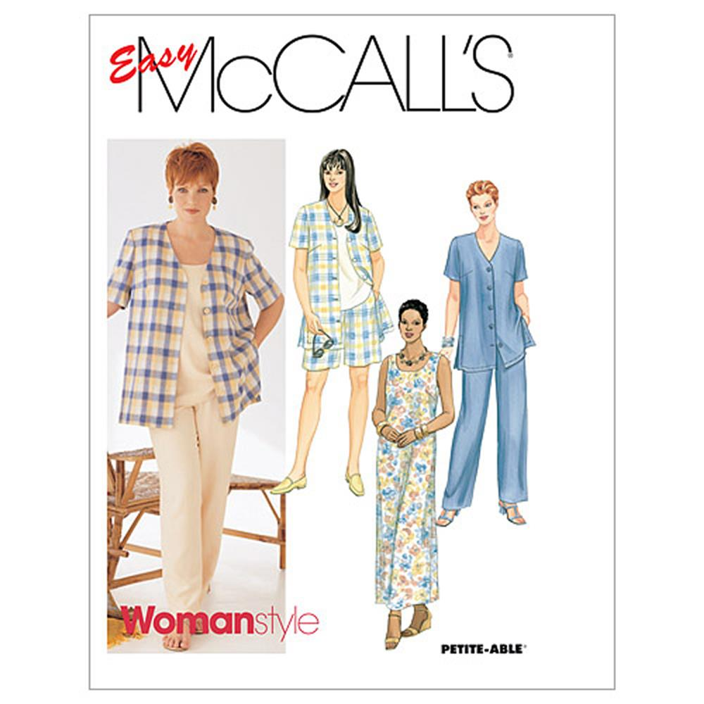 McCall's Women's Shirt, Dress Or Top, Pull-On Pants Or Shorts Pattern M2208 Size 0H0