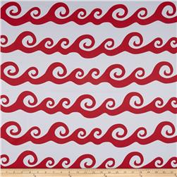 RCA Blackout Drapery Fabric Nautical Waves Red