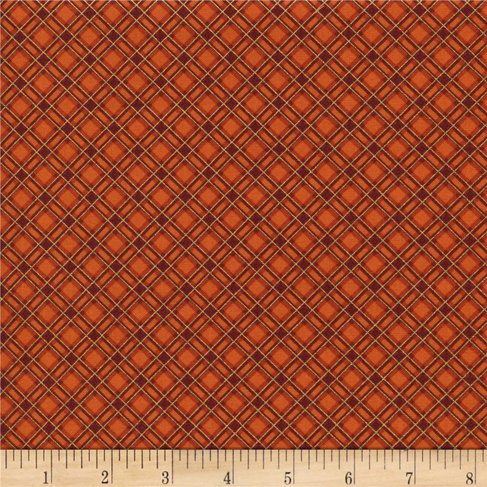Timeless Treasures Gather Together Metallic Harvest Bias Plaid Orange
