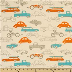 Premier Prints Retro Rides Mandarin/Natural Fabric