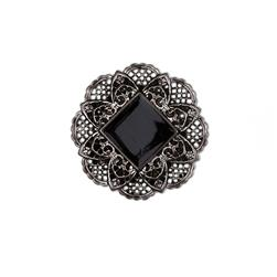 Metalized Button 1 1/4'' Framed Square Black/Silver