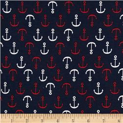 Kaufman Laguna Stretch Jersey Knit Anchors Nautical Navy
