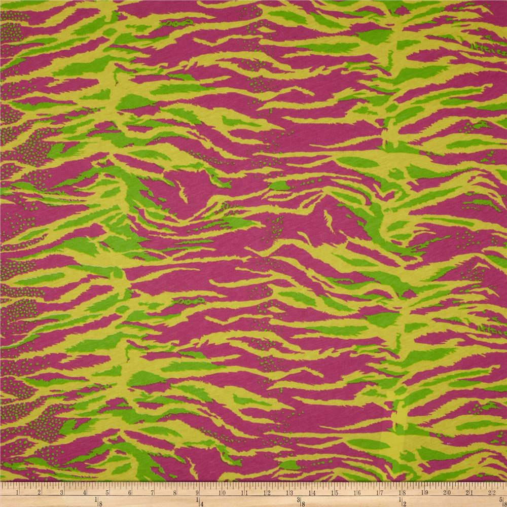 Cotton Jersey Knit Tiger Hot Pink/Lime