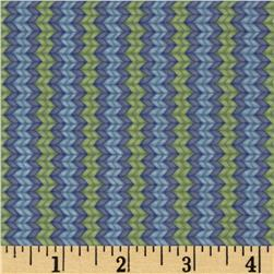 Snow Show Narrow Knitted Stripe Green/Lavender