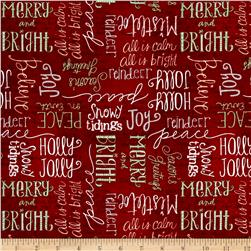 Wilmington Frosted Holiday Words Allover Red