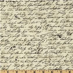 Timeless Treasures Library Script Cream