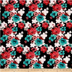 Stretch ITY Knit Aqua/Coral Roses on Black