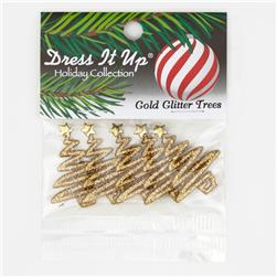 Dress It Up Embellisment Buttons  Gold Glitter Trees