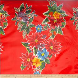 Oil Cloth Poinsettias Red