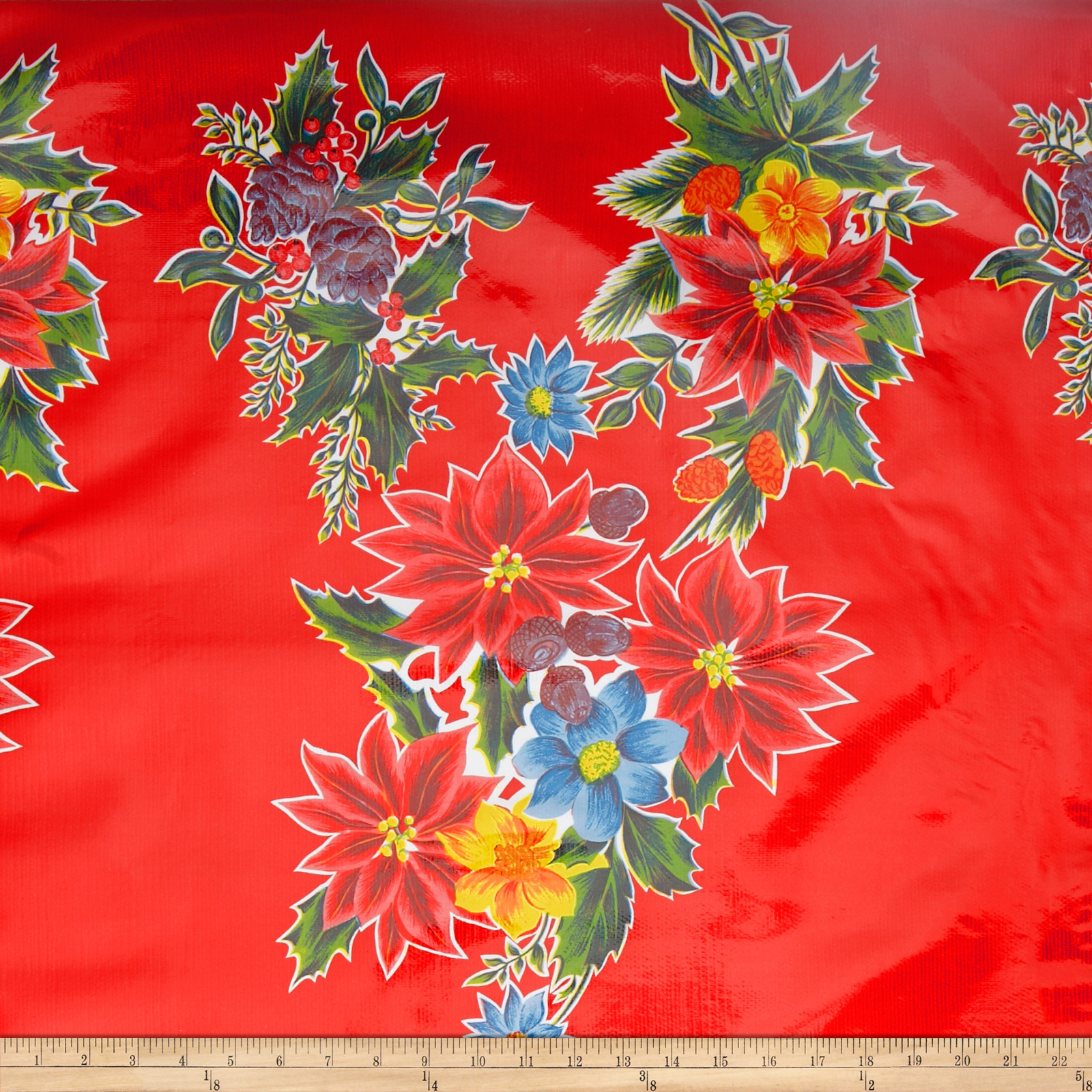 Oil Cloth Poinsettias Red Fabric by Oilcloth International in USA