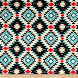 Tribal Style Southwest Argyle Fleece Taupe/Turquoise
