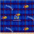 Collegiate Cotton Broadcloth University of Kansas Plaid Blue