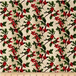 Merry, Berry & Bright Metallic Boughs Of Holly Radiant Vanilla