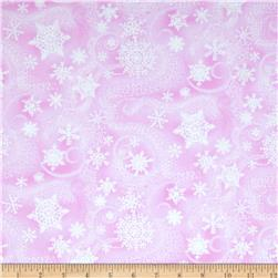 Timeless Treasures Snow Princess Metallic Snowflakes Pink
