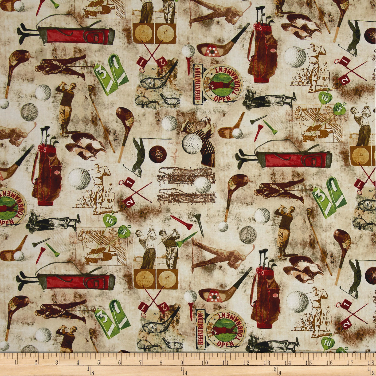 INOpets.com Anything for Pets Parents & Their Pets Timeless Treasures Vintage Sports Golf Coffee Fabric